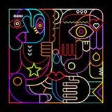 Abstrakcjonistycznej sztuki Neonowy projekt Obraz Royalty Free