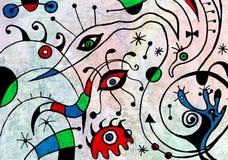 Abstrakcjonistycznej sztuki obraz z fantastycznymi ptakami Zdjęcia Royalty Free