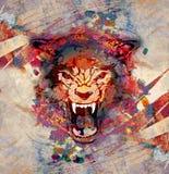 Abstrakcjonistycznej sztuki obrazek z wilkiem Obraz Stock