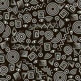 abstrakcjonistycznej sztuki postacie wzoru plemienny bezszwowy Fotografia Royalty Free