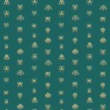 Abstrakcjonistycznej sztuki złota maski symbole na turkusowym tle royalty ilustracja