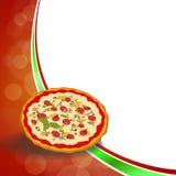 Abstrakcjonistycznej tła zielonego jedzenia czerwonej pizzy pomarańcze ramy żółta ilustracja ilustracji