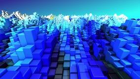 Abstrakcjonistycznej technologii błękitnych i białych 3D sześcianów geometryczny tło odpłaca się 4k UHD 3840x2160 royalty ilustracja