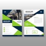 Abstrakcjonistycznej trójbok zieleni wieloboka ulotki broszurki ulotki szablonu błękitny projekt, książkowej pokrywy układu proje ilustracji
