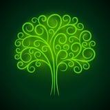 Abstrakcjonistycznej winiety zieleni rozjarzony drzewo royalty ilustracja