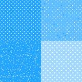 Abstrakcjonistycznej zimy błękitny biel Set bezszwowi wzorów tła zdjęcia stock
