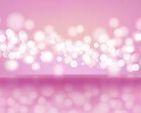 Abstrakcjonistyczni światła bokeh na różowym tle Zamazani defocused światła w świetle - menchia barwi Zdjęcia Stock