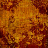 Abstrakcjonistyczni akwareli brushstrokes z kwiecistym ornamentem Zdjęcia Stock