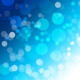 Abstrakcjonistyczni błękitni Bokeh okręgi na tle Zdjęcia Royalty Free