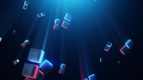 Abstrakcjonistyczni błękitni i czerwoni neonowi kwadraty royalty ilustracja