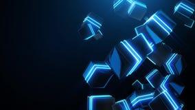 Abstrakcjonistyczni błękitni neonowi kwadraty royalty ilustracja