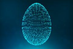 Abstrakcjonistyczni błękitni Wielkanocni jajka składa się niebieskie linie i rozjarzone neonowe kropki Abstrakcjonistyczny jajecz ilustracji