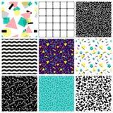 Abstrakcjonistyczni bezszwowi geometryczni wzory 80's-90's style royalty ilustracja