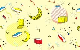 Abstrakcjonistyczni bezszwowi modni Geometryczni Kreskowi kształty Retro stylowy teksta tło Obraz Stock