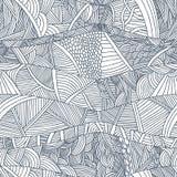 Abstrakcjonistyczni bezszwowi wzory z pociągany ręcznie doodle machają i wykładają royalty ilustracja
