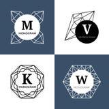 Abstrakcjonistyczni biżuteryjni klejnoty, diamentowy jewellery, kryształ kształtują wektorowych monogramy, logowie ilustracja wektor