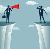 Abstrakcjonistyczni biznesmeni komunikuje od odległości. ilustracja wektor