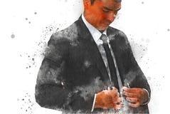 Abstrakcjonistyczni biznesmeni są ubierającym akwareli obrazem ilustracja wektor