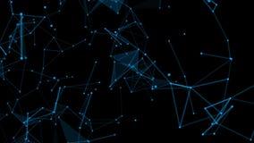 Abstrakcjonistyczni cyfrowych dane guzki i podłączeniowe ścieżki wśród jakaś typu sieć lub systemu sieci Animacji światło ilustracji