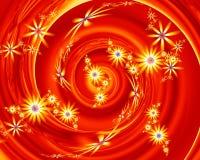 Abstrakcjonistyczni Czerwoni Żółci Fractal kwiaty royalty ilustracja