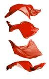 Abstrakcjonistyczni czerwoni jedwabie na białym tle Fotografia Stock