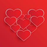 Abstrakcjonistyczni czerwoni serce kształty Zdjęcie Stock