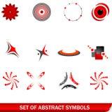 abstrakcjonistyczni czerwoni ustaleni symbole Zdjęcie Stock