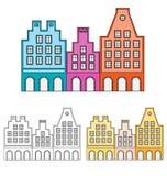 abstrakcjonistyczni europejscy domy ilustracja wektor