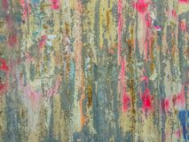 Abstrakcjonistyczni graffiti na galwanizującej panwiowej żelaznej metalu prześcieradła kipieli Obrazy Royalty Free