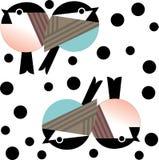 Abstrakcjonistyczni grubi ptaki siedzi stronę popierają kogoś w colour - obok - ilustracja wektor