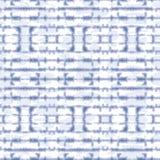 Abstrakcjonistyczni Horyzontalni Odzwierciedlający Indygowi barwidła Shibori lampasy na Białym Backrgound Wektorowym Bezszwowym w ilustracja wektor