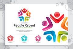 Abstrakcjonistyczni ilustracyjni ludzie tłoczą się wektorowego logo z kolorowym i nowożytnym stylowym pojęciem jako symbol ikony  ilustracja wektor