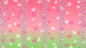 Abstrakcjonistyczni Jaskrawi światła, serca i faborki w, menchiach i zieleni tle ilustracji
