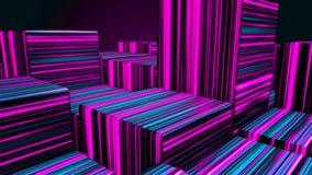 Abstrakcjonistyczni jaskrawi neonowi sze?ciany Neonowych ?wiate? sze?cian?w t?o kolor kostki royalty ilustracja