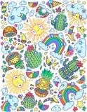 Abstrakcjonistyczni kaktusy, ananasy, tęcza i chmury, Obraz Royalty Free