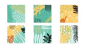 Abstrakcjonistyczni kolaży artboards ustawiający Wektorowy tło ilustracji