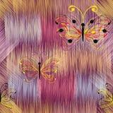 Abstrakcjonistyczni kolorowi motyle na grunge paskowali tęczy tło Fotografia Royalty Free
