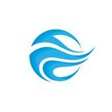Abstrakcjonistyczni kształty - wektorowego loga szablonu znaka kreatywnie ilustracja Błękitnych fala pojęcia wodny znak elementy  royalty ilustracja