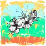 Abstrakcjonistyczni kwiaty w boho projektują przeciw jaskrawemu tłu, rocznik Obrazy Stock
