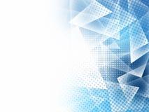 Abstrakcjonistyczni niscy poli- błękitni trójboki wielobok i halftone z kopii przestrzenią ilustracji
