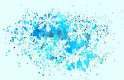 Abstrakcjonistyczni płatki śniegu i pluśnięcia akwarela na błękitnym tle Obraz Stock