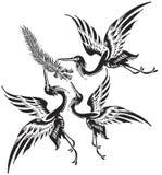 abstrakcjonistyczni ptaki ilustracyjni Zdjęcia Royalty Free