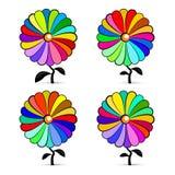 Abstrakcjonistyczni Retro Kolorowi wektorów kwiaty Ustawiający Fotografia Royalty Free