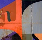 Abstrakcjonistyczni rysunkowi graffiti na ośniedziałej powierzchni Obraz Royalty Free