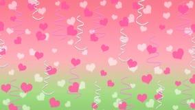 Abstrakcjonistyczni serca i faborki w tle menchii i zieleni royalty ilustracja