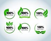 Abstrakcjonistyczni sfery zieleni liścia loga elementu projekta ekologii symbole ustawiający Liścia loga kształta ikona i zieleń  Obrazy Royalty Free
