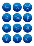 Abstrakcjonistyczni sportowi piktogramy z sylwetkami Obrazy Stock