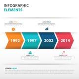 Abstrakcjonistyczni strzałkowaci biznesowi linii czasu Infographics elementy, prezentacja szablonu płaskiego projekta wektorowa i Obrazy Stock