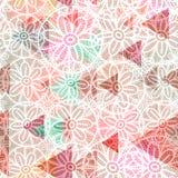 Abstrakcjonistyczni trójboki, Koronkowi kwiaty bezszwowy pettern dekoracyjny geometryczny współczesny druk, modnisia modny tło Ró ilustracji