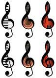 Abstrakcjonistyczni treble clefs Fotografia Royalty Free